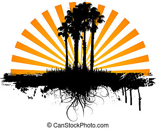 palma, grunge, árvores