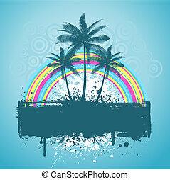 palma, grunge, albero