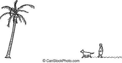 palma, homem, árvore, esboço, cão