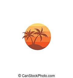 palma, logotipo, su, il, isola