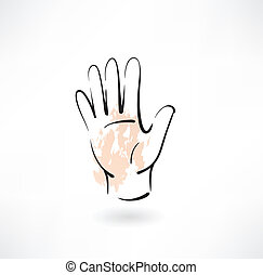 palma, mão, grunge, ícone