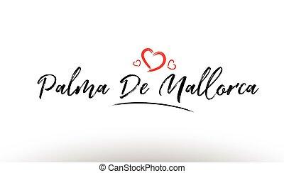 palma mallorca, europe, ville européenne, nom, aimez coeur, tourisme, logo, icône, conception