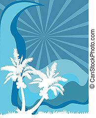 palma, mar, árbol