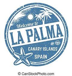 palma, meldingsbord, postzegel, of, la, welkom