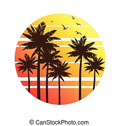palma, pôr do sol, árvores