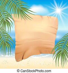 palma, praia arenosa, papyrus, árvores