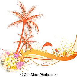palma, resumen, elementos, árbol, océano