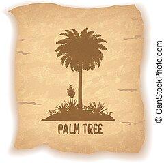 palma, silhouette, carta, vecchio, albero