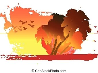 palma, su, tramonto, fondo