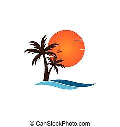 palma, su, uno, spiaggia, logotipo, disegno, sagoma