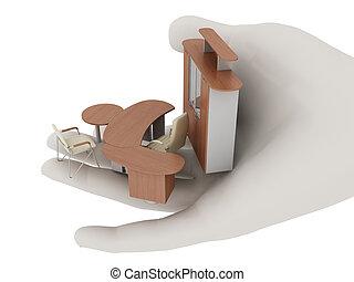 palma, suo, disteso, mobilia ufficio