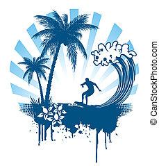 palma, surfando, grunge, ondas