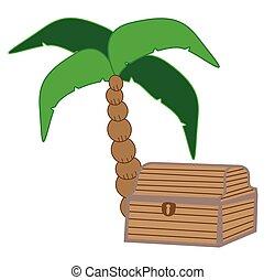 palma, torace, tesoro, albero