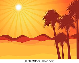 palma, tramonto, deserto