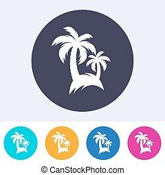 palma, vettore, albero, icona