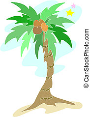palma, vettore, albero, stelle