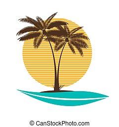 palma, vettore, foglia, illustrazione
