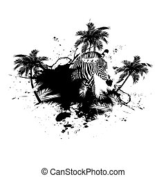 palma, vettore, grunge, albero