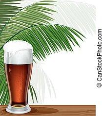palma, vidrio, cerveza, ramas