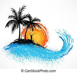 palma, wave., tramonto, albero, oceano
