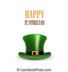 palmadita, greeting., patrick, s., c/, verde, hat., st.patrick, día, feliz