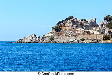 Palmaria island, La Spezia, Italy - Rocky sea coast and...