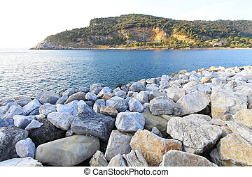 Palmaria island in Mediterranean sea near Italian coase