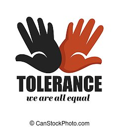 palmas, campanha, cor, isolado, racismo, anti, tolerância, ícone