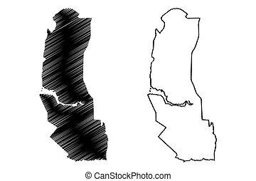 Palmas City (Federative Republic of Brazil, Tocantins State) map vector illustration, scribble sketch City of Palmas map
