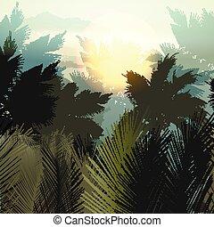 palmas, gradiente, landscape.eps, tropicais, vetorial, selva, plants.