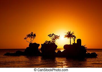 palmas, ilha, em, pôr do sol, mar