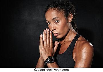 palmas, imagem, mulher, junto, americano, africano, sportswear