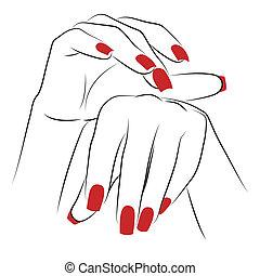 palmas, mulher, vermelho, manicure