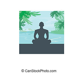 palmas, silueta, céu, oceânicos, pôr do sol, fundo, ioga, meditação, homem