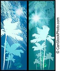 palmbomen, sunset.