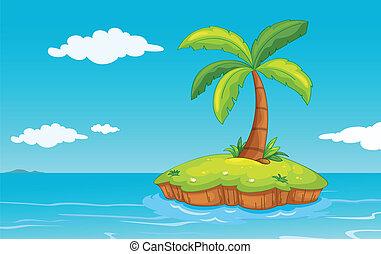 palme, auf, insel