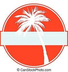 palme, auf, rotes