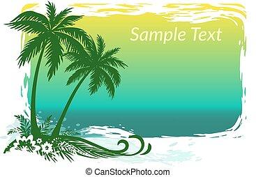 palme, fiori, mare, paesaggio
