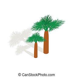 palme, icona, in, isometrico, 3d, stile