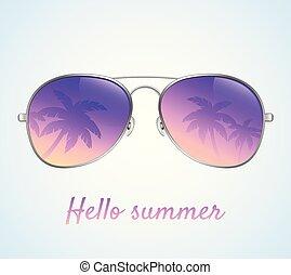 palme, vettore, occhiali da sole, riflessione, illustrazione