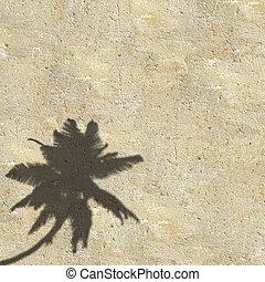 palmen, a, auf, sonnenuntergang, hintergrund