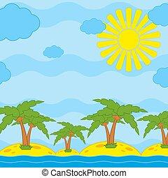 palmen, auf, gelber , sand, per, der, meer, gegen, a, blauer himmel, mit, wolkenhimmel, und, sonne