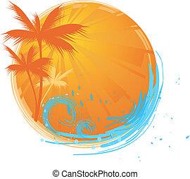 palmen, ronde, spandoek