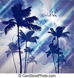 palmen, sunset.