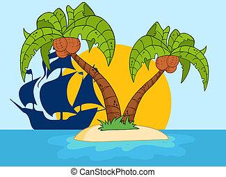 palmera, barco, pirata, dos