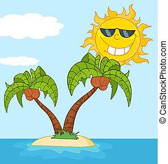 palmera, isla, dos, caricatura