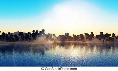 palmera, isla, paisaje, 3d