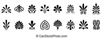 Palmettes elements symbols vector set