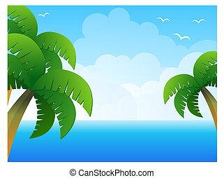 palmier, mer