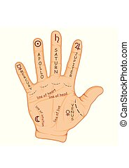 Palmistry or chiromancy hand with signs of the planets and...